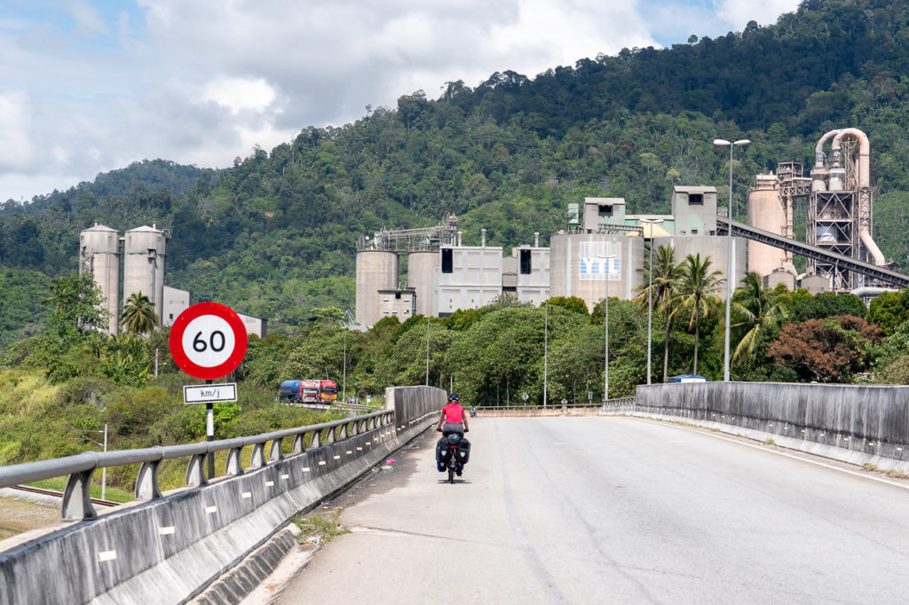 Johanna on Malaysia Federal Route 1 and Perak-Hanjoong Simen plant in the background