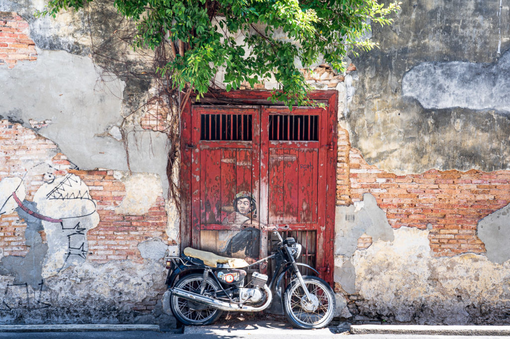 """Boy on Motorcycle'"" mural street art, Lebuh Ah Quee, George Town, Penang"