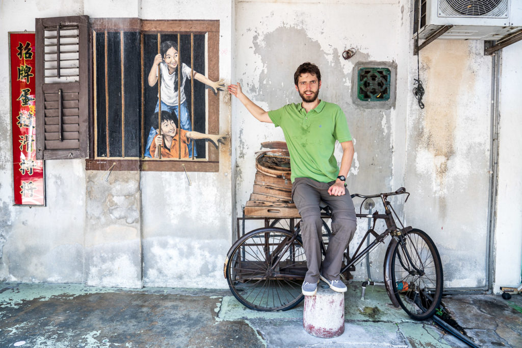"Armand at ""I Want Bao'"" mural street art, Gat Lebuh Armenian, George Town, Penang"
