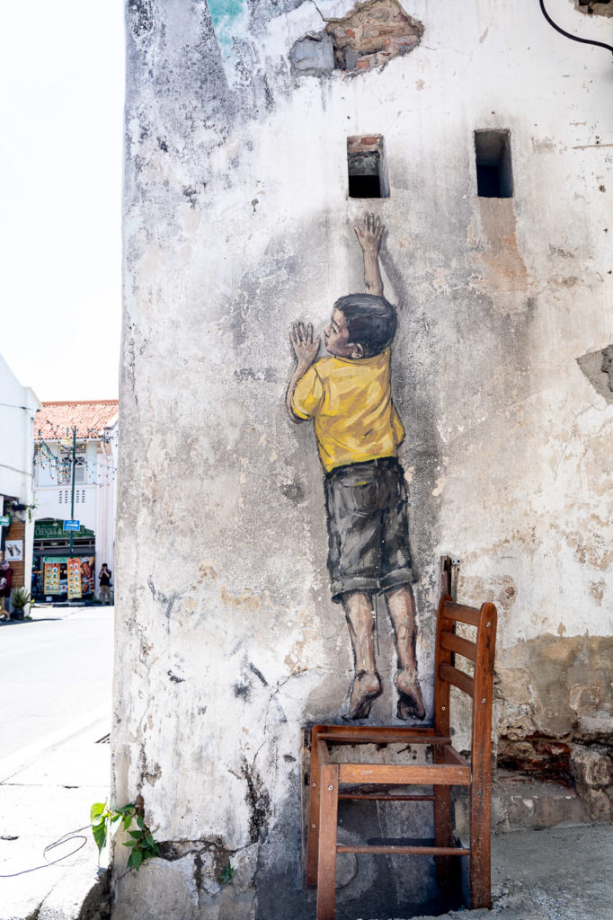 """Boy on Chair'"" mural street art, Lebuh Cannon, George Town, Penang"