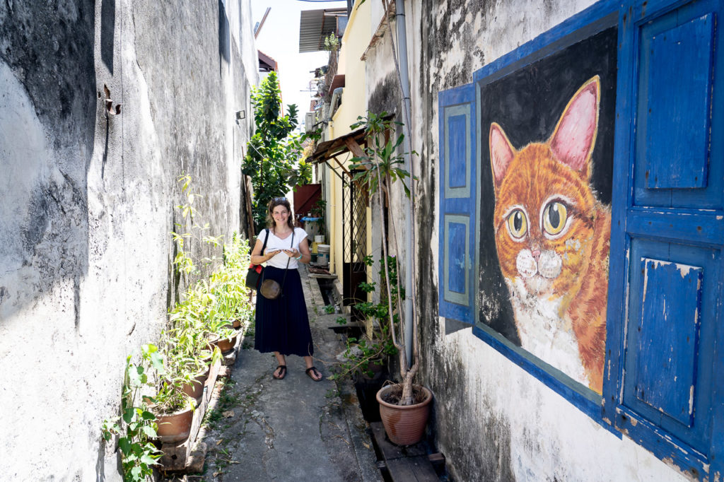 "Johanna at ""Window Cat"" mural street art, Lebuh Cannon, George Town, Penang"