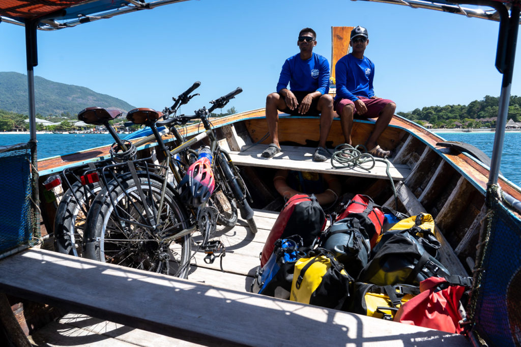 Bikes on a long-tail boat to Koh Lipe
