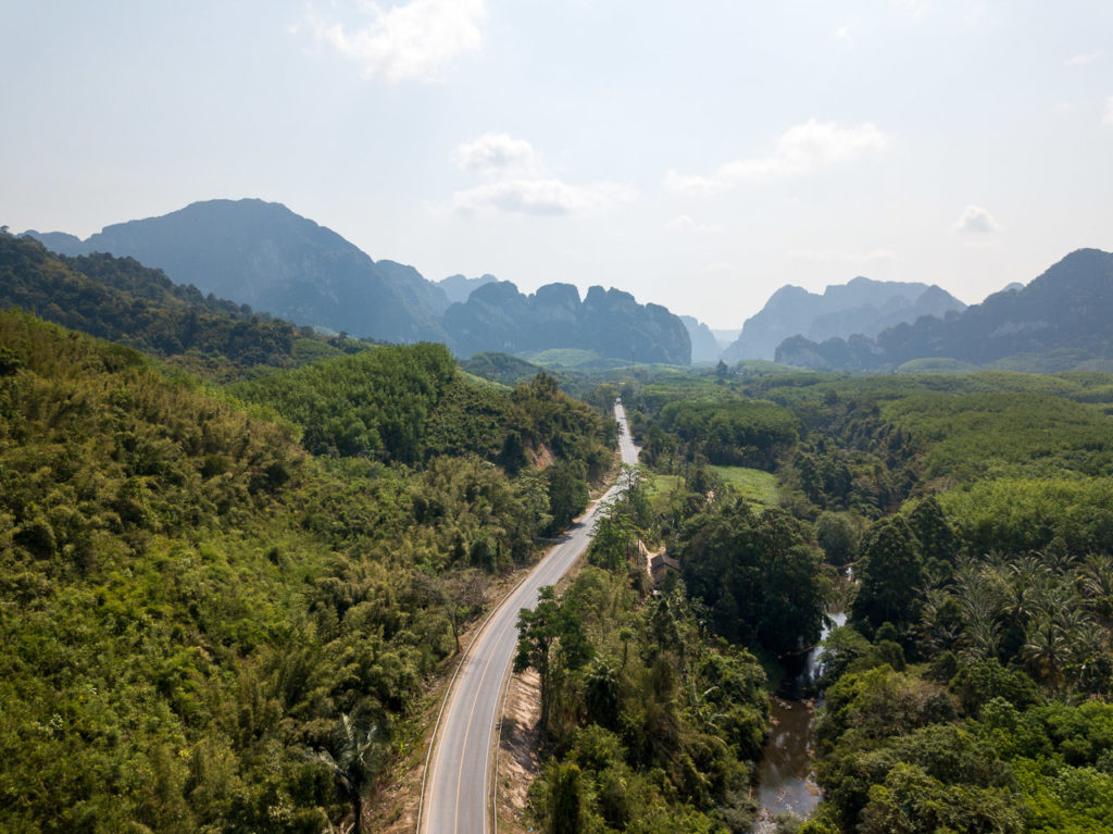 Khao Sok National Park on the left, Thailand Route 401 and Khlong Phanom National Park on the right