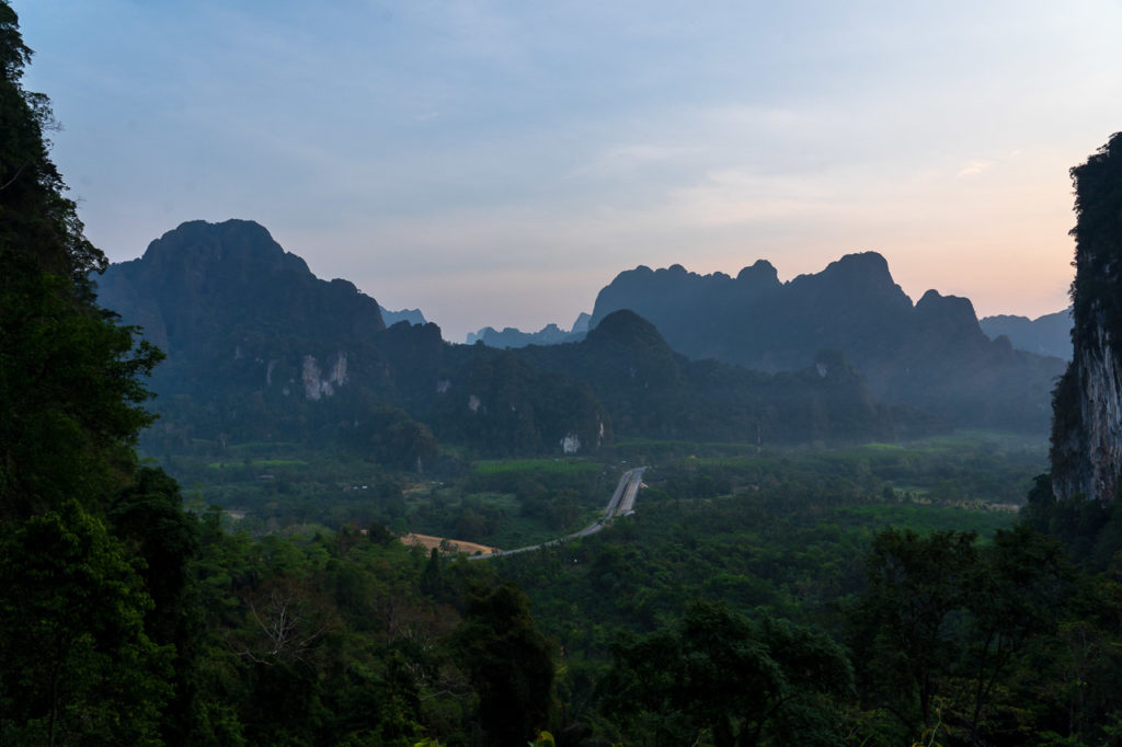 Sunrise over Khao Sok National Park seen from Khlong Phanom National Park