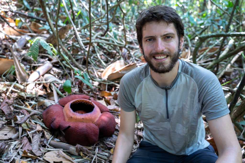 Armand and a rafflesia kerrii in Khao Sok National Park