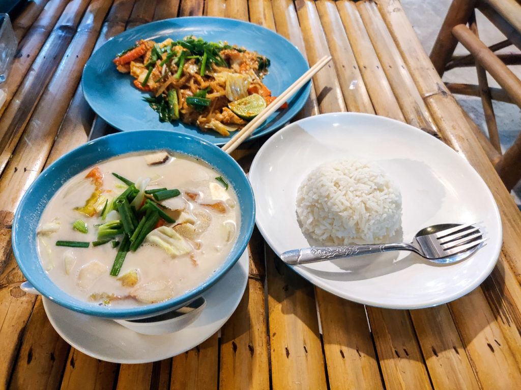Coconut soup and pad thai