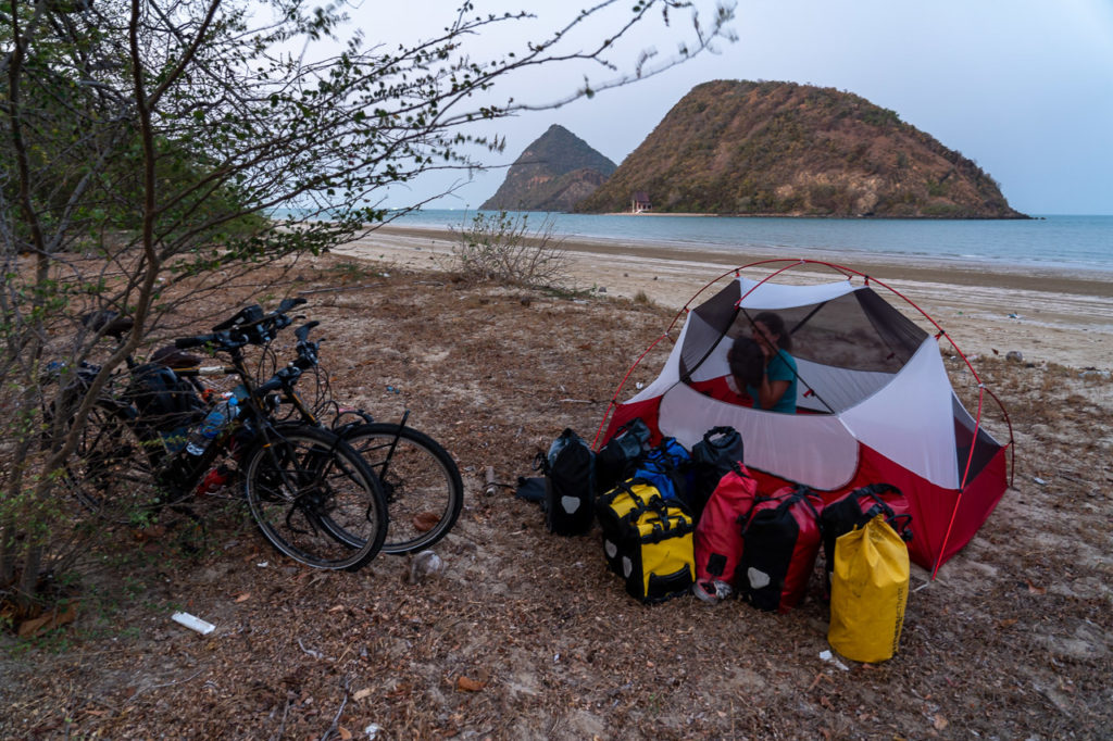 Wild camping at Secret Beach with Ko Kho Ram & Ko Nom Sao in the background