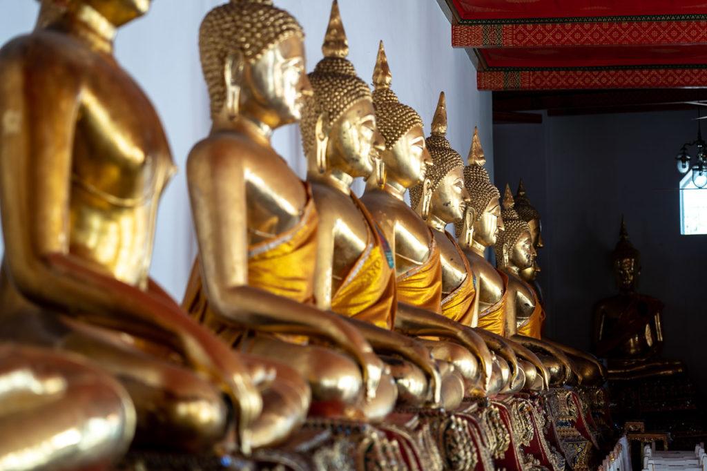 Buddha images, Phra Rabiang cloister, Wat Pho, Bangkok