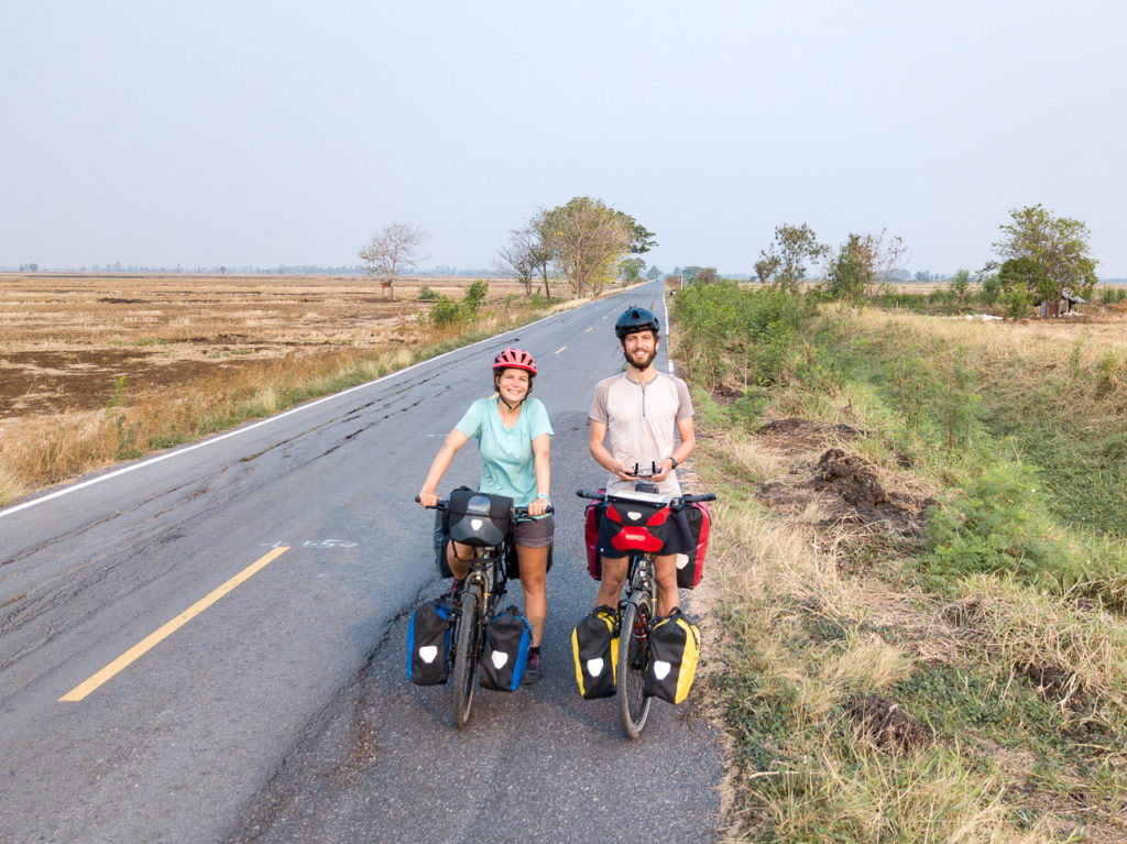 Johanna & Armand on a farmland road nearby Phai Yai