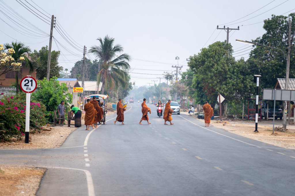 Buddhist monks nearby Thung Saliam