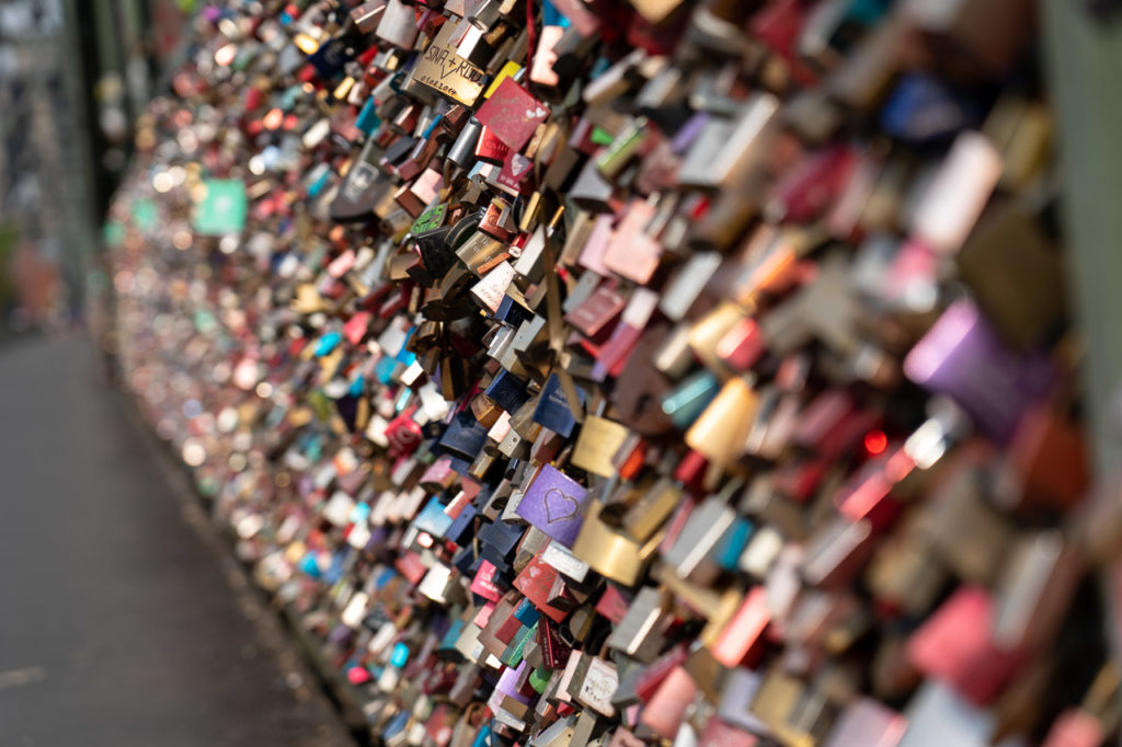 Love locks at Hohenzollernbrücke, Köln