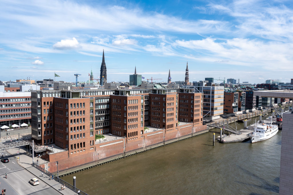 HafenCity seen from Elbphilharmonie Plaza, Hamburg