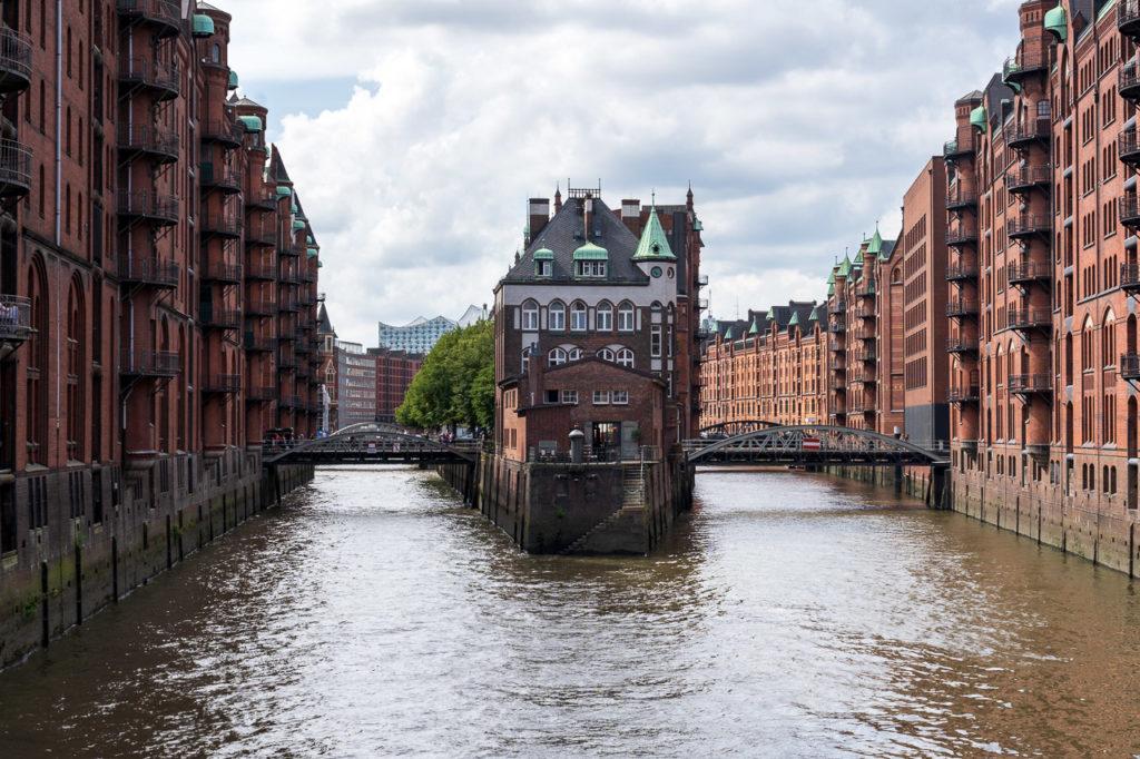 Wasserschloss seen from Poggenmühlenbrücke, Speicherstadt, Hamburg