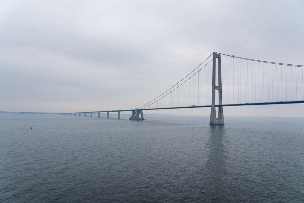 Storebæltsbroen, Denmark seen from the ferry Kiel-Oslo