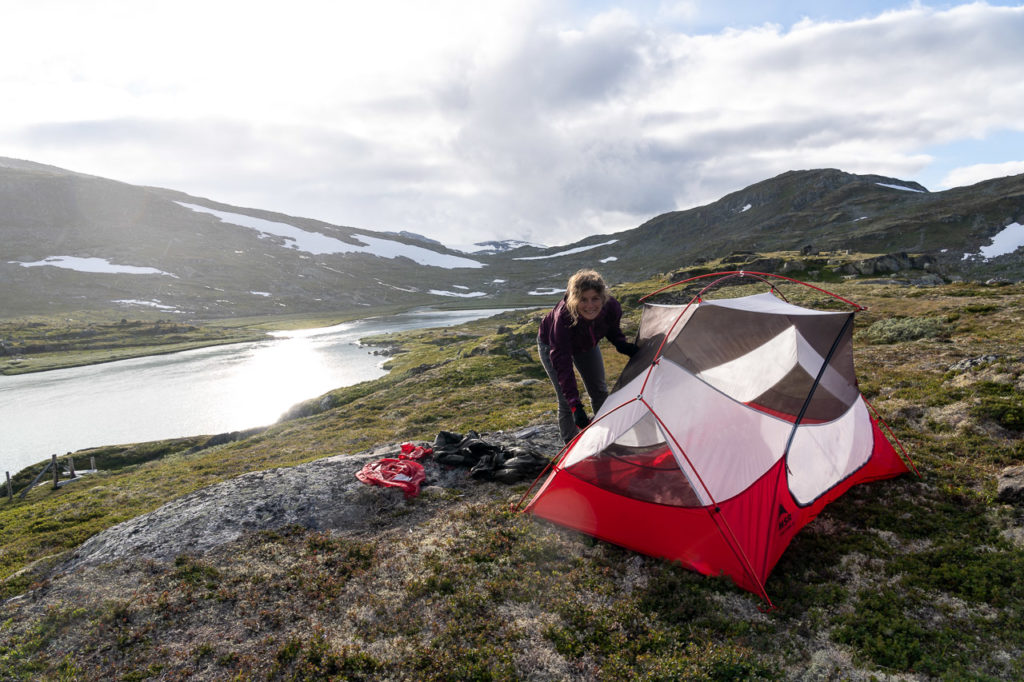 Johanna at our wild camping spot along the Ustekveikja on Hardangervidda