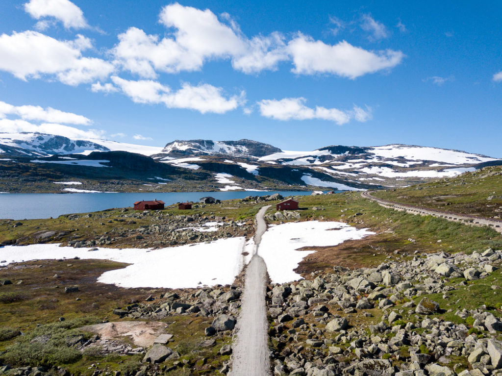 Rallarvegen nearby Finse & Hardangerjøkulen in the background