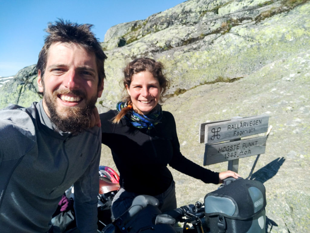Armand & Johanna at the highest point of the Rallarvegen (1343m)