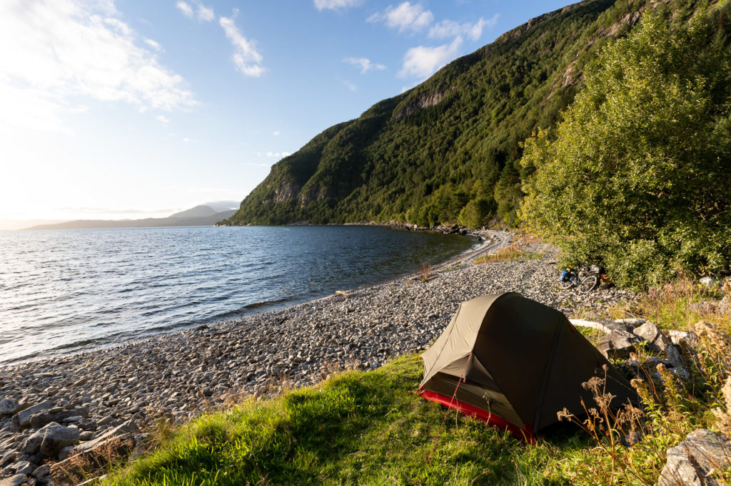 Wild camping along the Sognefjorden nearby Leirvik