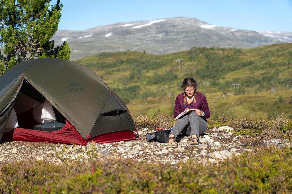 Johanna at our wild camping spot on Utvikfjellet