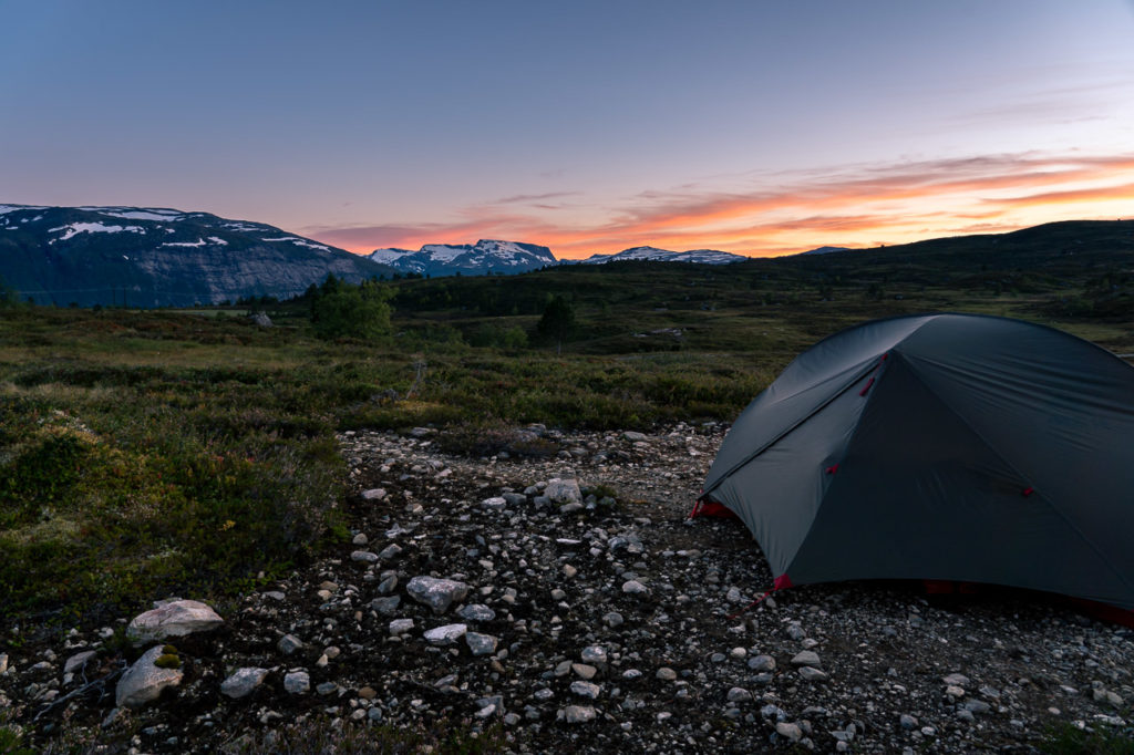 Sunset over our wild camping spot on Utvikfjellet