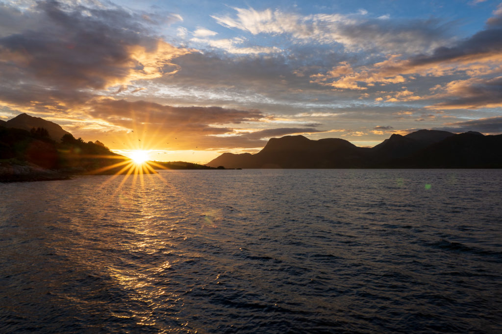 Sunrise over Midfjorden arm of Romsdalsfjorden seen from Dryna island