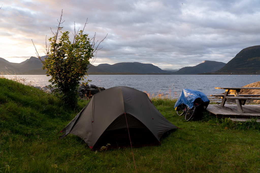 Sunrise over our wild camping spot along the Midfjorden arm of Romsdalsfjorden, on Dryna island