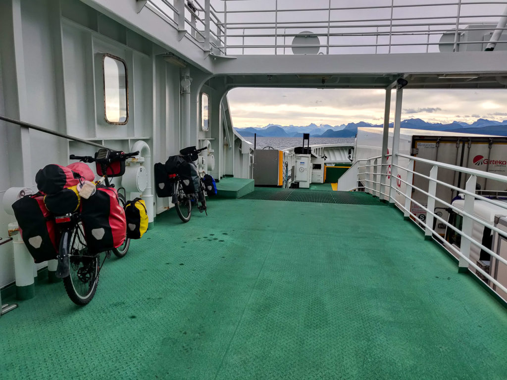 Bikes on the ferry Solholmen-Mordalsvågen across the Julsundet strait