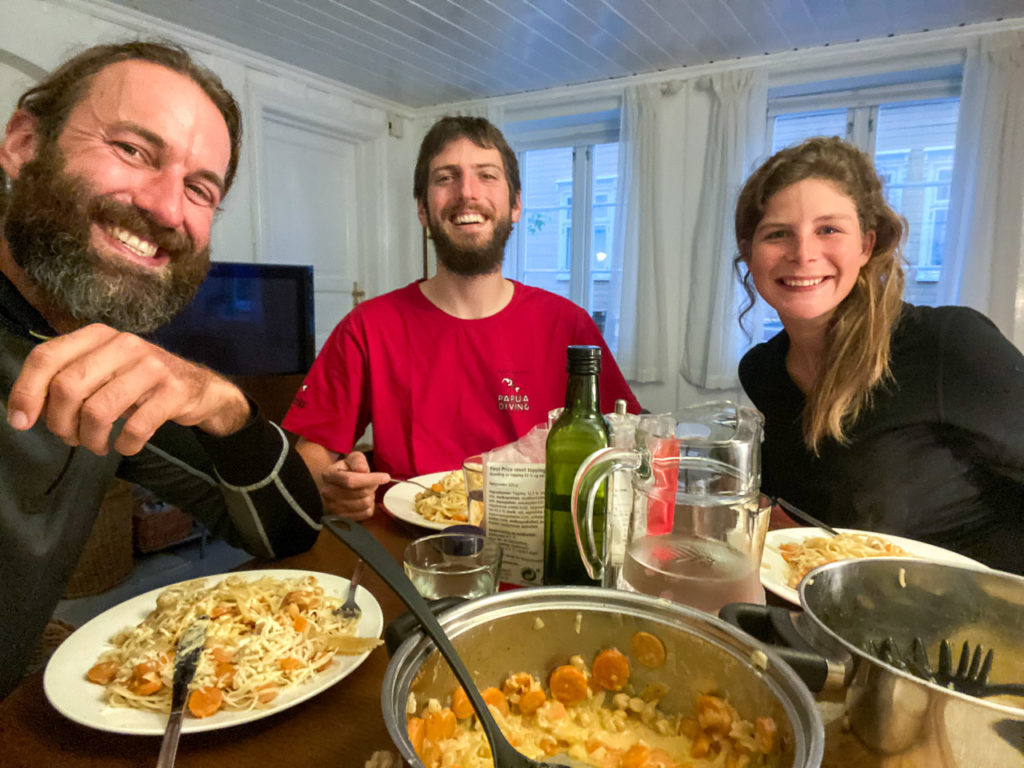 Anam, Armand & Johanna at our Airbnb, Trondheim