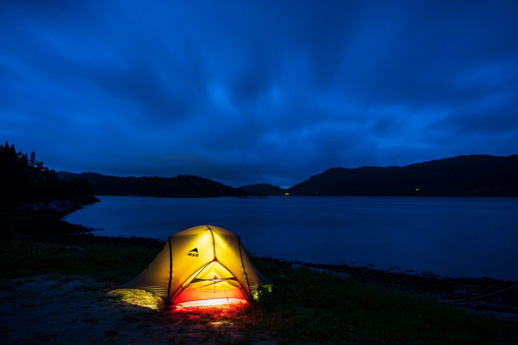 Wild camping along the Årsetfjorden nearby Gravvik