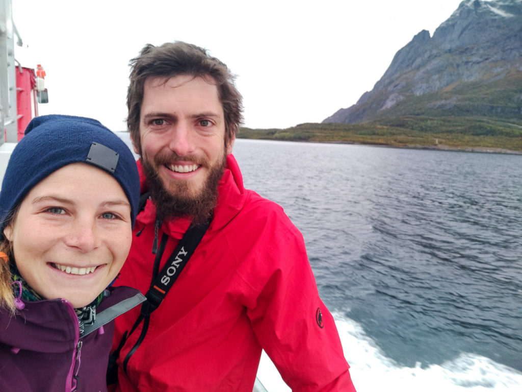 Johanna & Armand crossing the Arctic Circle on the ferry Kilboghamn-Jektvik