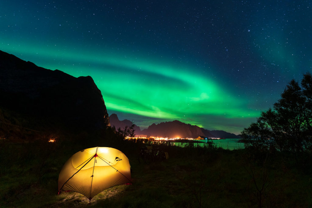Aurora over our wild camping spot nearby Reine