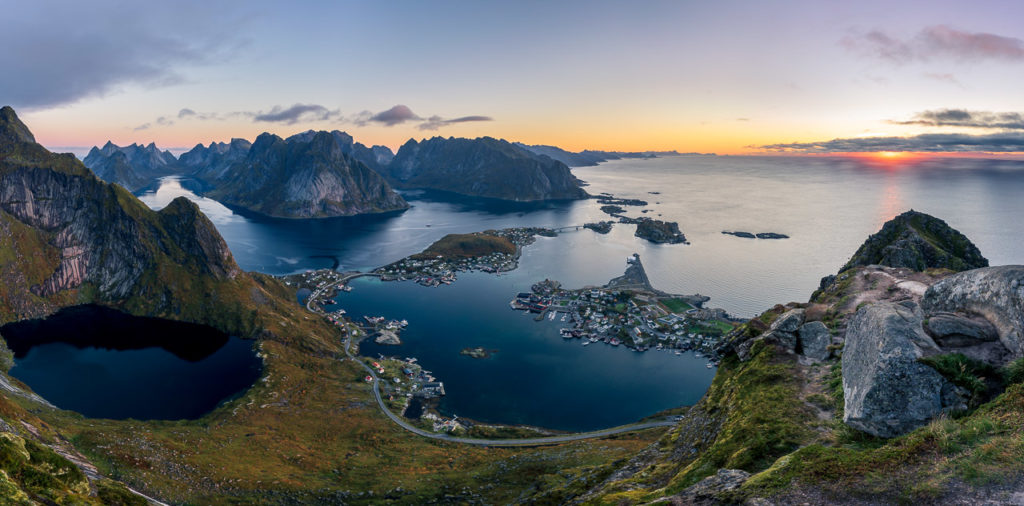 Sunrise over Reine seen from Reinebringen