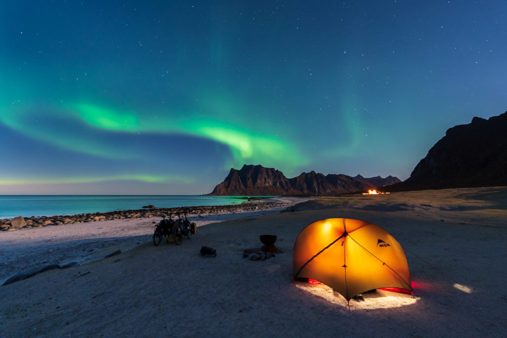 Aurora over our camping spot on Uttakleiv Beach