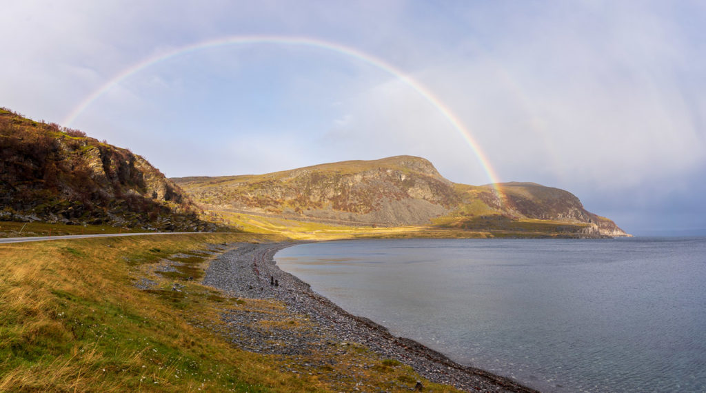Rainbow over Porsangerfjorden in Ytre Sortvik